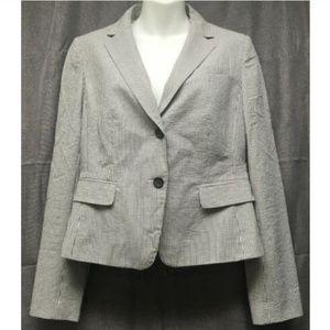 Ann Taylor Blazer Jacket Women 6 Gray White Stripe